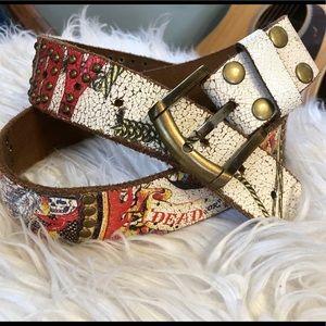 Vintage Ed Hardy belt Sz S leather Dead or Alive